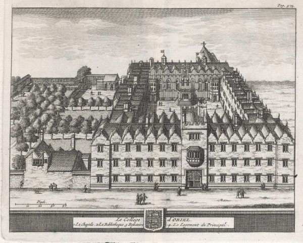 A bird's-eye view of the college showing the chapel, dining hall, library and the Dean's lodgings. One of 39 engravings made of Oxford Colleges by Loggan