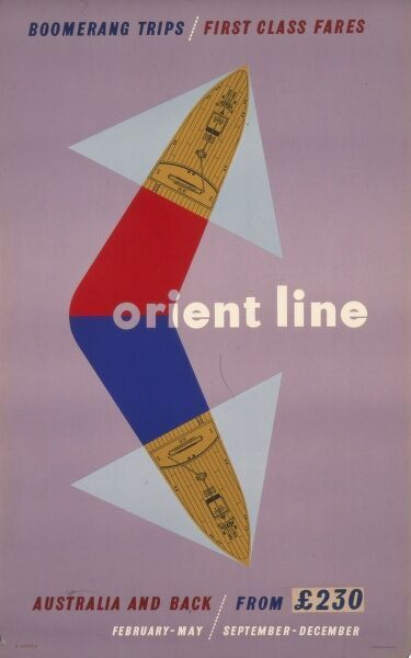 Orient Line poster advertising boomerang trips and first class fares to Australia and back from 230