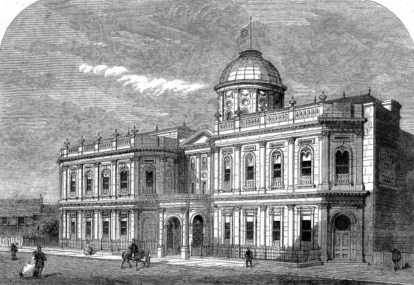 Engraving showing the exterior of the Oriental Baths, Victoria Street, Westminster, London