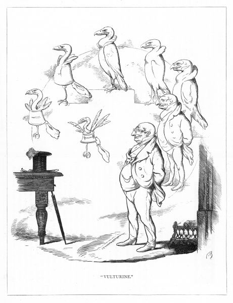 'Vulturine'. Satire on Darwin's 'Origin of Species' showing the evolution of a vulture to a banker