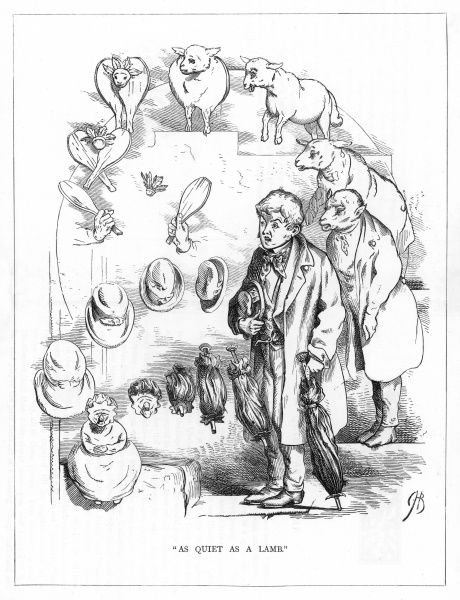 'As quiet as a lamb'. Satire on Darwin's 'Origin of Species' showing the evolution of a quiet young man, from a lamb. Dressed in a long tailed coat and being under the impression that he would pass for a riotous young blade