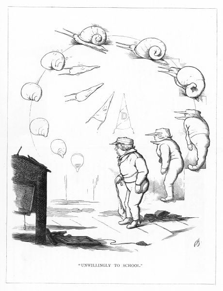 'Unwillingly to school'. Satire on Darwin's 'Origin of Species' showing the evolution of a unwilling schoolboy from a snail. Developing through the ages from a dunces cap and pegtop into a mollusc on a garden wall, eventually into the boy