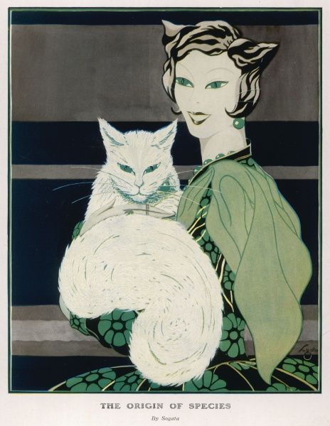 Stylised illustration depicting a fashionably dressed woman holding her pet cat. The two are alarmingly physically alike