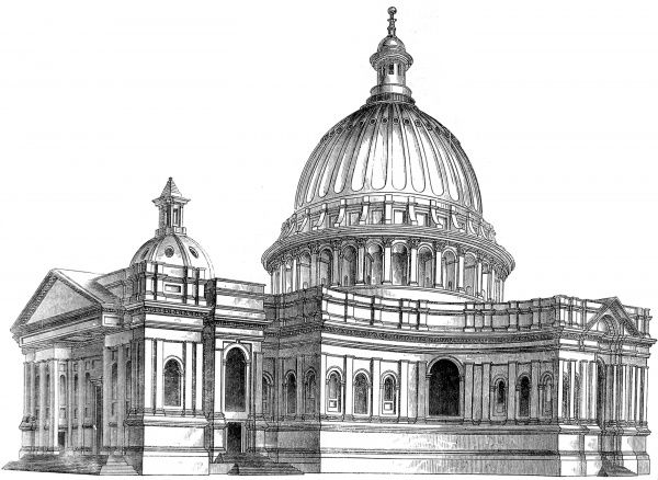Engraving showing Sir Christopher Wren's original model (and design) for St. Paul's Cathedral, London. This model was on display in 1865, when it was sketched for the 'Illustrated London News&#39