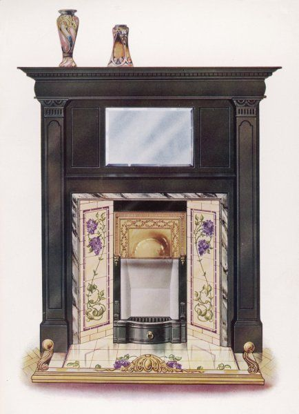 Ornamental fireplace with flower-decorated tiles to the sides and in front