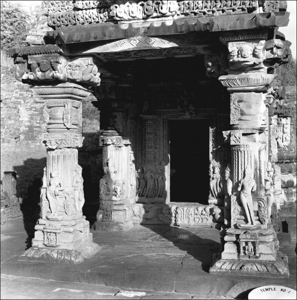The ornately carved entrance to a building in Madhya Pradesh, Central India. Photograph by Ralph Ponsonby Watts