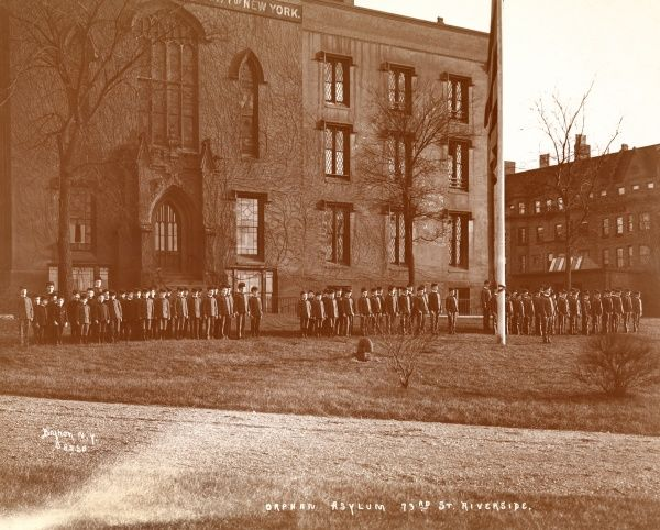 Orphan Asylum, 73rd St. Riverside. Orphans standing at attention in front of the Orphan Asylum Society of New York City at 73rd Street and Riverside Drive