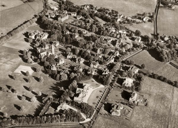 Aerial view of the Orphan Homes of Scotland, Bridge of Weir, Renfrewshire