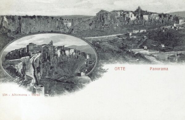 Orte, Italy, in the Tiber valley on a high tuff cliff, encircled to North and East from a handle of the Tevere river. Date: circa 1900