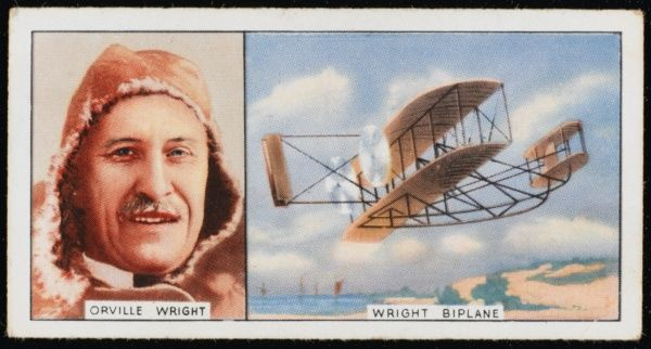 Orville Wright, American pioneer aviator, and his Wright biplane (1908 model)