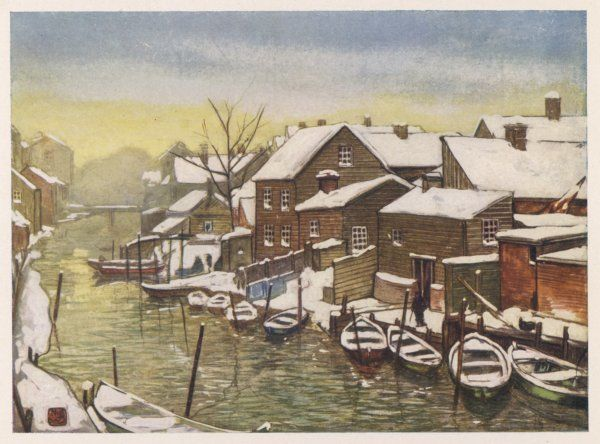 Oslo (formerly Christiania): the old canal in the snow, with boats