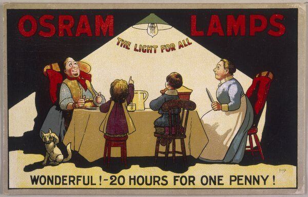 Advertisement for Osram lamps - Twenty hours for one penny