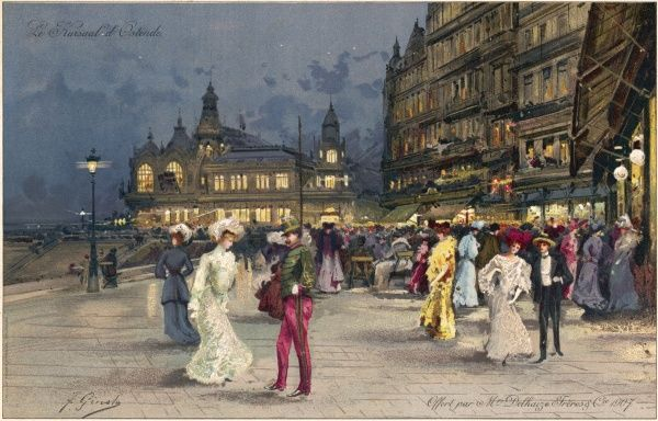 Ostend: the Kursaal by night, with people out in their finery