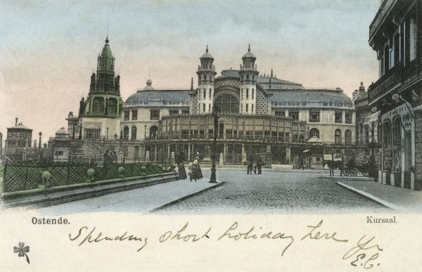 The Kursaal (i.e. health centre) at Ostende/Ostend on the bracing North Sea coast. Date: circa 1900