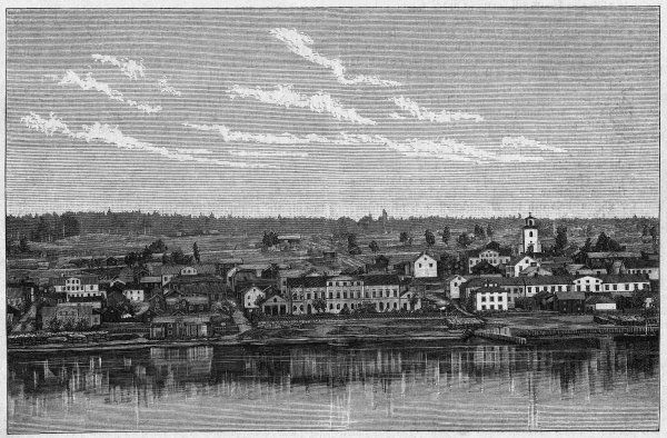 View of Ostersund, on lake Storsjon : reputed for the manufacture of furniture etc