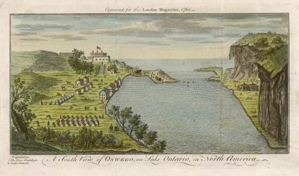 The earliest English trading post on the Great Lakes, the fort was contested in the Seven years' War and later in 1812 : the Onondago river here flows into Lake Ontario