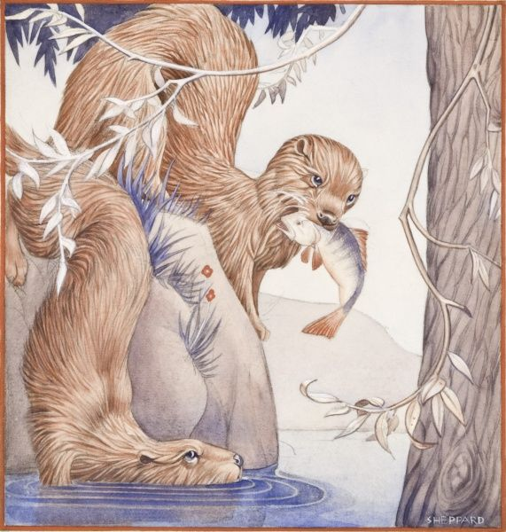 Otters catching fish (Perch) by the edge of a stream. Slightly stylised watercolour painting by Raymond Sheppard