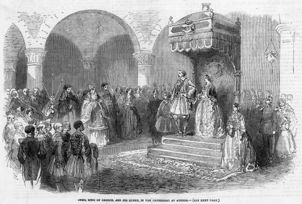 King Othon (prince Otto of Bavaria) wears Greek dress in Athens cathedral, but this isn't enough to endear him to his subjects who will depose him in October 1862
