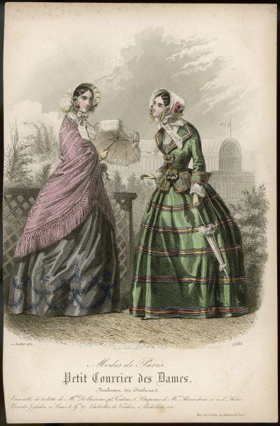 Two ladies in the garden, one with a shawl and parasol : the other has a parasol, too, but hasn't opened it yet