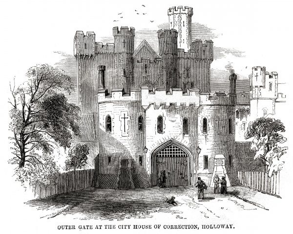 Outer gate at London City Prison and House of Correction, Holloway. Date: 1862