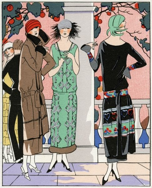 Three young ladies wearing the latest spring outfits. On the left, a brown 3/4 length coat with black fur on cuffs and high standing collar, with tie at the hips, by Doeuillet. In the middle, a green sleeveless dress with silver pattern and fur to the hem