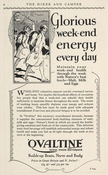 "Advertisement for Ovaltine which ""builds up brain, nerve and body&quot"