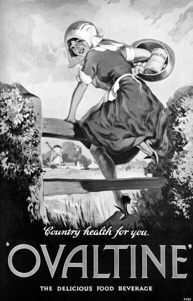 A country girl clambers over a gate, holding a basket containing eggs and a box of Ovaltine. Date: 1928
