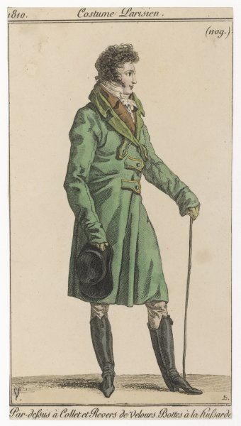 Green overcoat with velvet revers, M-cut collar, turned back cuffs that cover the knuckles, fastening with buttons & tabs piped in gold & black hessian boots