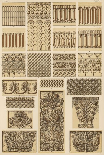 Designs taken from columns and capitals, pilasters and mouldings, at Persepolis, Istakhr, Bi Sutoun and Ispahan