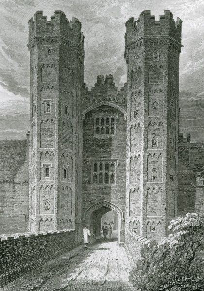 The impressive entrance gateway to Oxburgh Hall, Norfolk, the seat of Sir Richard Bedingfeld. Date: 1809