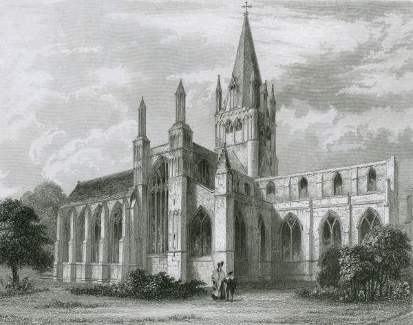 Oxford Cathedral viewed from the north west Date: 1837