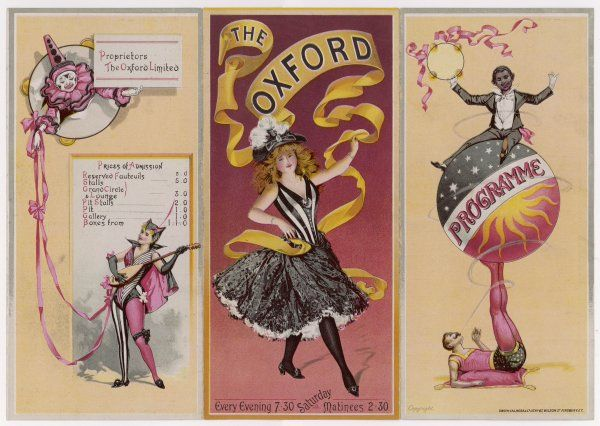 The cover and reverse side of a programme for the Oxford Music Hall, London. The bill for this week, starting 18 September 1893, included Miss Marie Lloyd and Mr Dan Leno