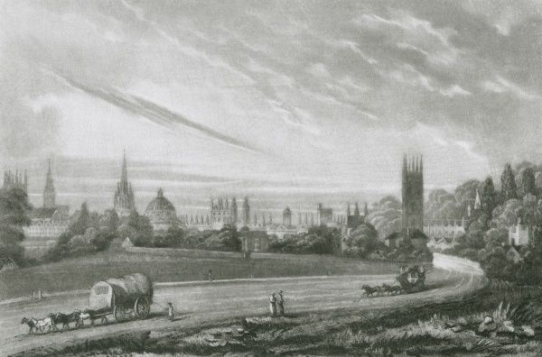 A heavy wagon and a stage coach leave Oxford by the London Road. Magdalen Tower is on the right. Date: 1831