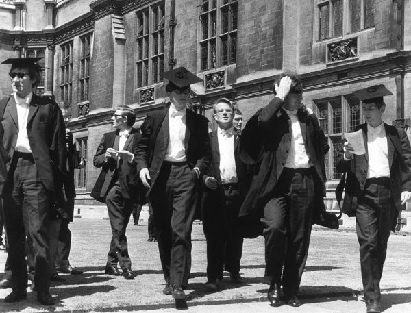 A group of male graduates at Oxford. Date: circa 1950