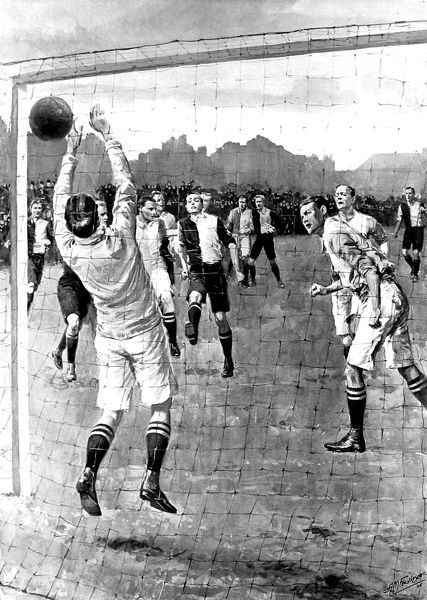 Illustration showing Berry of Oxford University scoring a goal in the 1908 varsity match, played at the Queen's Club, February 1908. The match was won by Oxford 4-1