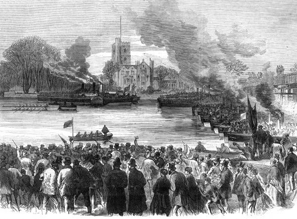 The start of the race from Putney. Date: 1869