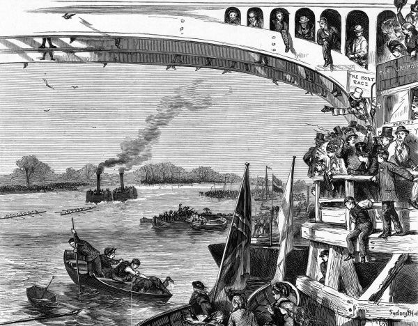 The Oxford and Cambridge Boat Race : Sketch at Barnes Bridge. Date: 1870