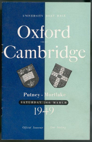 An official souvenir from the Oxford versus Cambridge boat race from Putney to Mortlake on 26th March which was won by Cambridge by quarter of a length