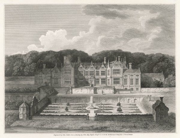 A fine print of a splendid example of a stately home - Oxnead Hall, Norfolk, with its terrace and walled garden, and woods behind