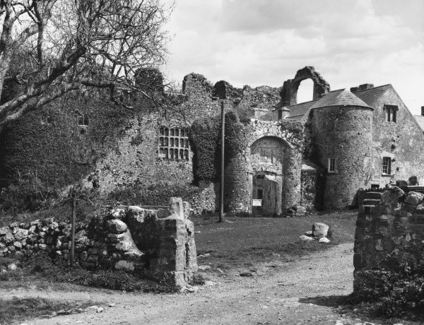 A view of the ruins of the fortified manor house know as Oxwich Castle in the Gower Peninsula, Glamorgamshire