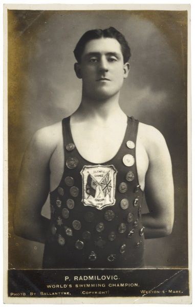 P RADMILOVIC World swimming champion of the 1908 Olympic Games (held in London), proudly wearing an impressive array of medals