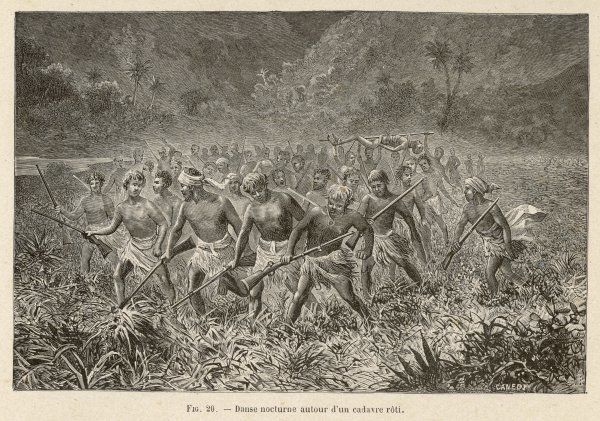Natives of the New Hebrides (Pacific) dance around a roasted victim, preparatory to eating it