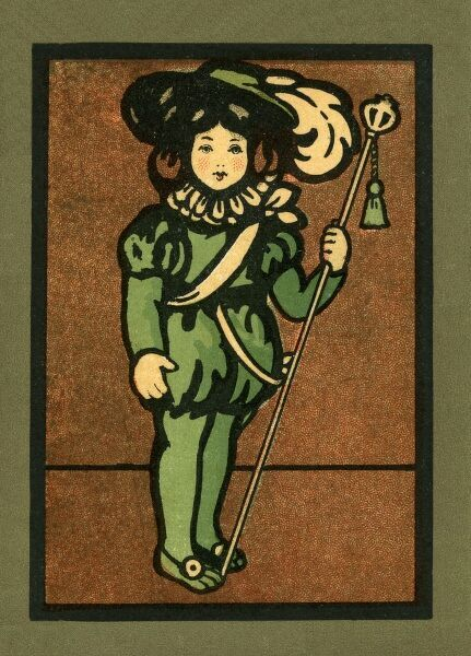 Page boy in green. From a postcard illustration.. c.1910