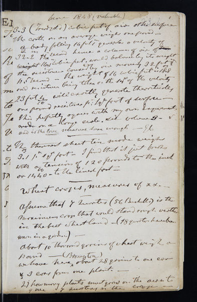 Page from the original notebook of George Cayley (1773-1857) - prolific English engineer and one of the most important people in the history of aeronautics. Date: 1808