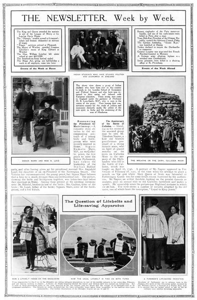 Page from The Sphere, 4th May 1912, called The Newsletter, Week by Week