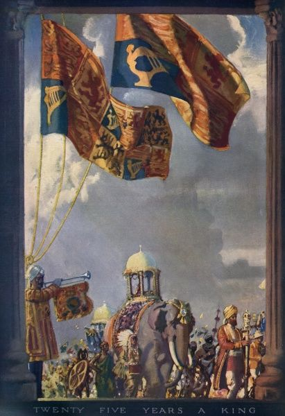 The illustration features the royal standards flying, along with stereotyped depictions of colonised peoples, including a ceremonial elephant.  1935