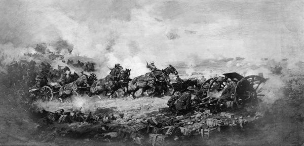 Painting by the Australian war artist Harold Septimus Power (1877-1971), showing artillery going into action before the Battle of Ypres, with soldiers on horseback pulling heavy artillery across a field, and others loading a field gun