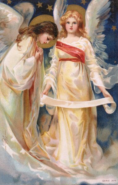 A very beautiful chromolithographic postcard depicting a pair of angels, one bowed in prayer and one holding a long thin scroll. Date: circa 1910s