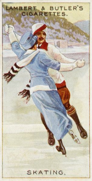 A smart couple skate together on the ice. Date: 1914