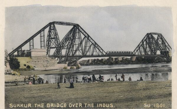 Pakistan - The Sukkur Bridge over the Indus. Opened in 1889 and formerly named after the then Viceroy, Landsdowne. On opening it was the longest cantilever Bridge in the world